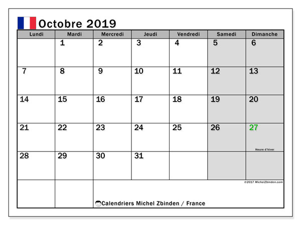 Calendrier octobre 2019, France