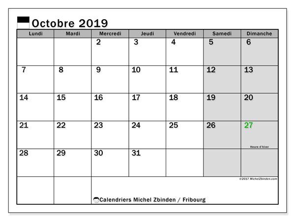 Calendrier octobre 2019, avec les jours fériés du Canton de Fribourg. Calendrier à imprimer gratuit.
