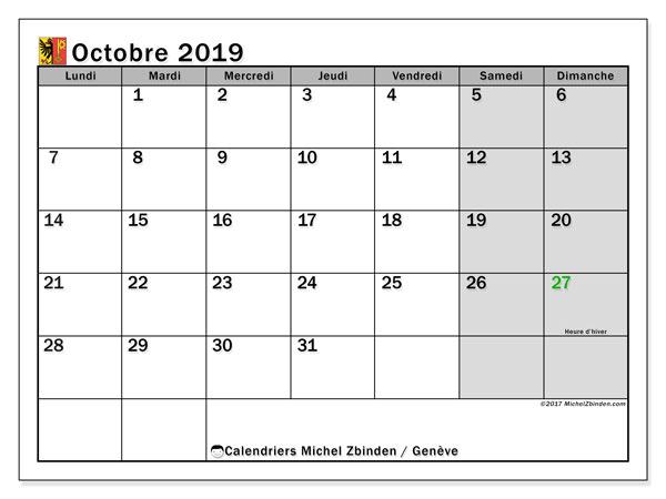 Calendrier octobre 2019, avec les jours fériés du Canton de Genève. Calendrier mensuel à imprimer gratuit.
