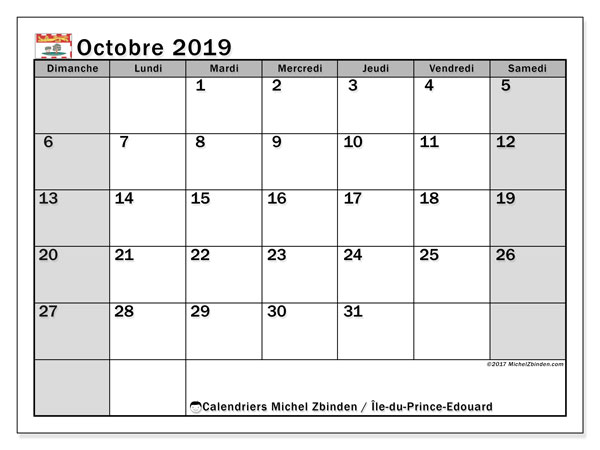Calendrier octobre 2019, avec les jours fériés de l'Île-du-Prince-Edouard. Calendrier imprimable gratuit.