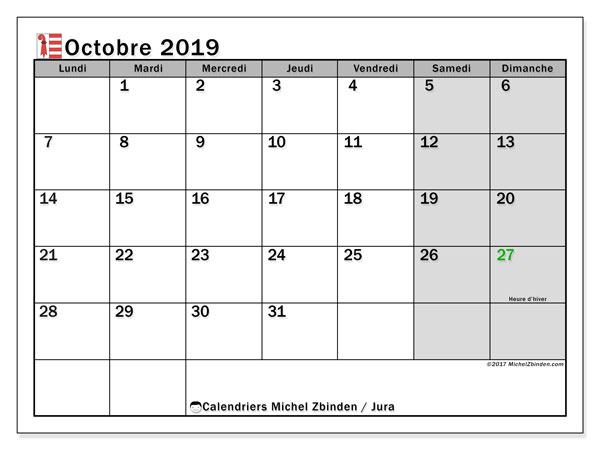 Calendrier octobre 2019, avec les jours fériés du Canton du Jura. Calendrier Fêtes et jours fériés à imprimer gratuit.