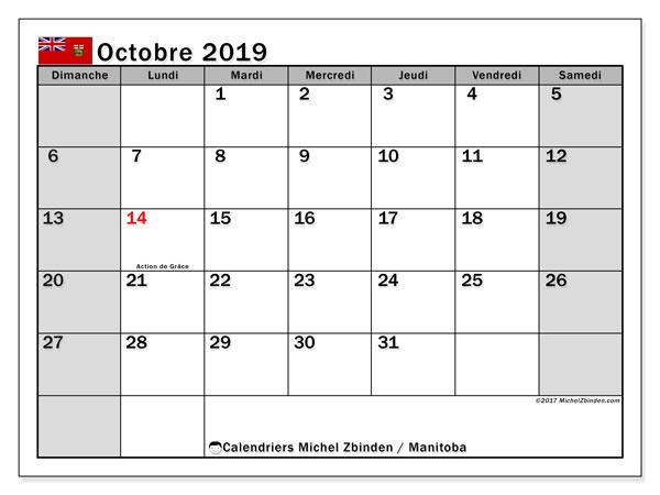 Calendrier octobre 2019, avec les jours fériés du Manitoba. Calendrier mensuel à imprimer gratuit.
