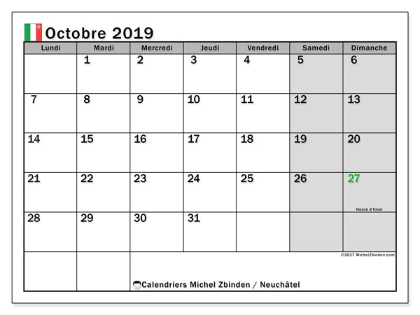 Calendrier octobre 2019, avec les jours fériés du Canton de Neuchâtel. Calendrier gratuit à imprimer.