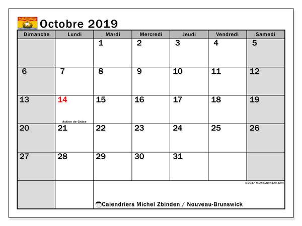 Calendrier octobre 2019, avec les jours fériés du Nouveau-Brunswick. Calendrier à imprimer gratuit avec jours fériés.