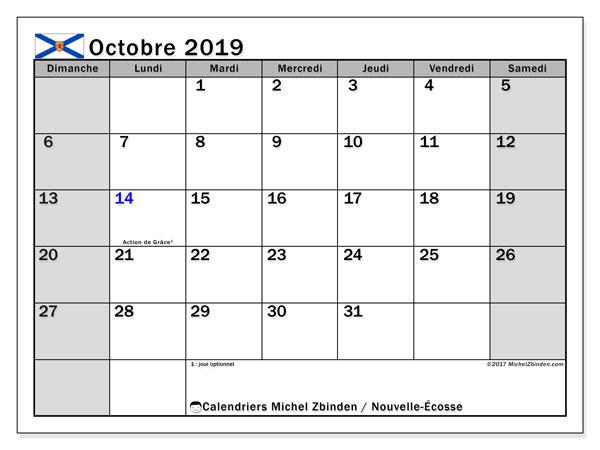 Calendrier octobre 2019, avec les jours fériés de la Nouvelle-Écosse. Calendrier Fêtes et jours fériés à imprimer gratuit.