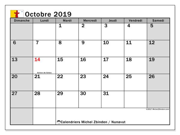 Calendrier octobre 2019, avec les jours fériés du Nunavut. Organisateur à imprimer gratuit.
