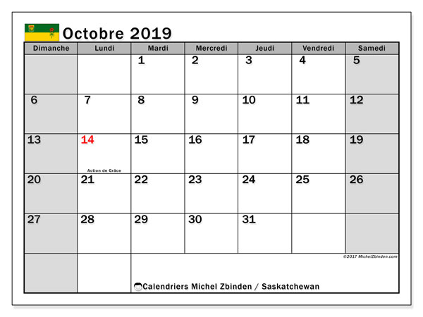 Calendrier octobre 2019, avec les jours fériés de la Saskatchewan. Calendrier Fêtes et jours fériés à imprimer gratuit.