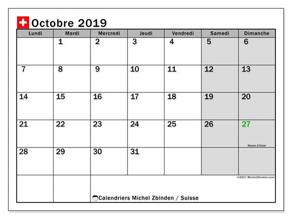Calendrier octobre 2019, avec les jours fériés de la Suisse. Calendrier à imprimer gratuit avec jours fériés.
