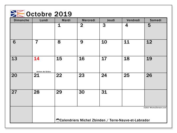 Calendrier octobre 2019, avec les jours fériés de Terre-Neuve-et-Labrador. Calendrier à imprimer gratuit avec jours fériés.