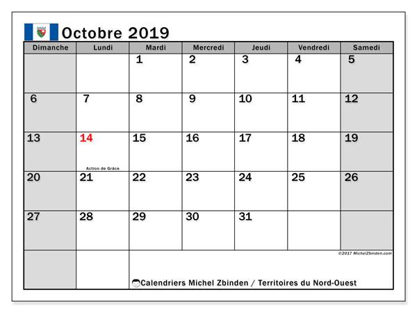 Calendrier octobre 2019, avec les jours fériés des Territoires-du-Nord-Ouest. Calendrier Fêtes et jours fériés à imprimer gratuit.