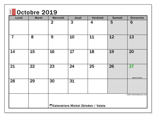 Calendrier octobre 2019, avec les jours fériés du Canton du Valais. Calendrier à imprimer gratuit avec jours fériés.