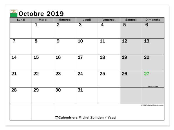 Calendrier octobre 2019, avec les jours fériés du Canton de Vaud. Calendrier à imprimer gratuit avec jours fériés.