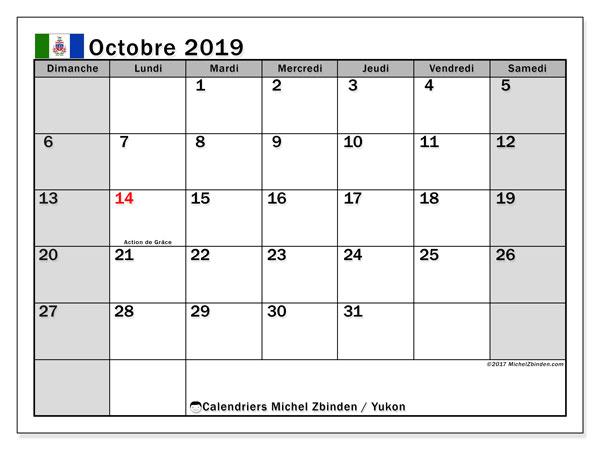 Calendrier octobre 2019, avec les jours fériés du Yukon. Calendrier imprimable gratuit.