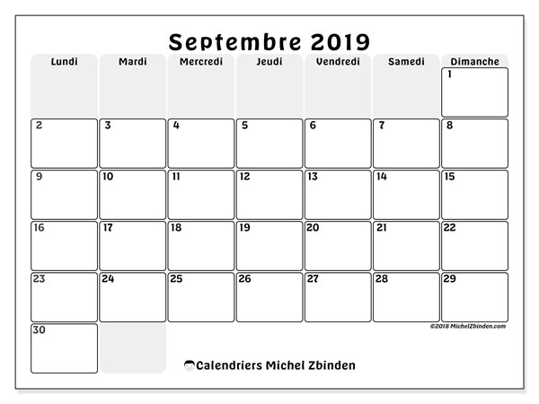 Calendriers septembre 2019 (LD).  44LD.