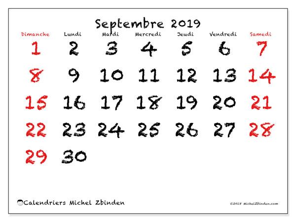 Calendrier Septembre 2019 46ds Michel Zbinden Fr