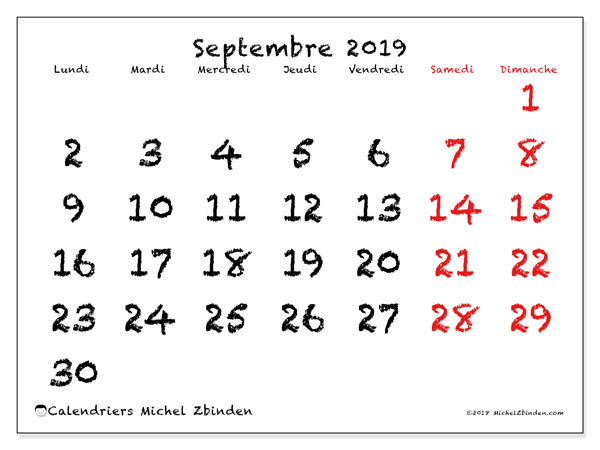 Calendriers septembre 2019 (LD).  46LD.