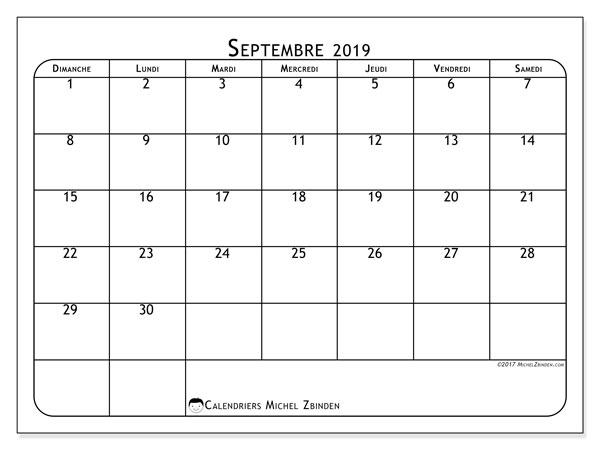 Calendrier septembre 2019, 51DS. Calendrier pour le mois à imprimer gratuit.