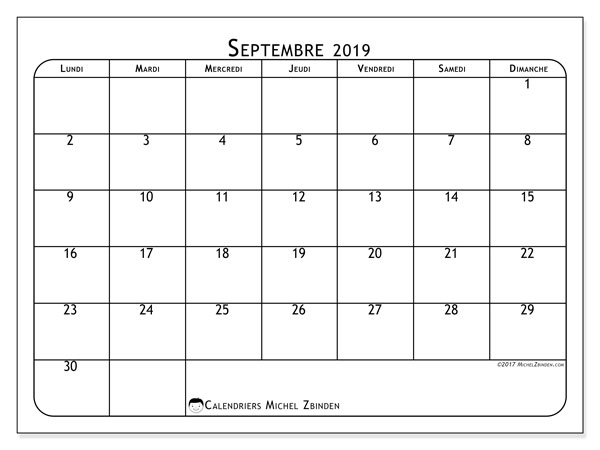 Calendriers septembre 2019 (LD).  51LD.