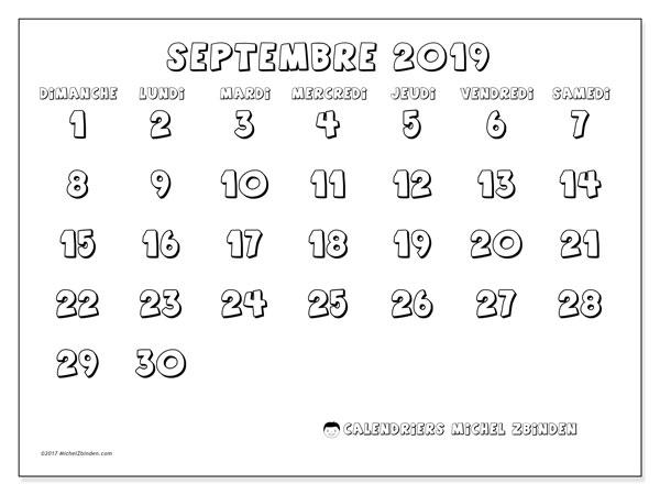 Calendrier septembre 2019, 56DS. Calendrier gratuit à imprimer.