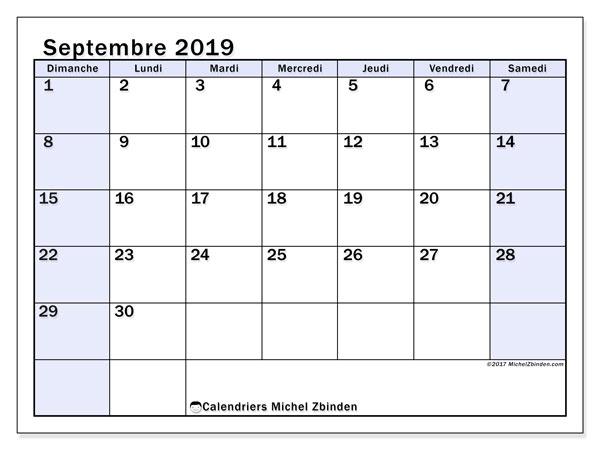 Calendrier septembre 2019, 57DS. Calendrier pour le mois à imprimer gratuit.