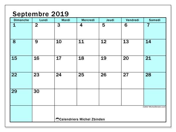 Calendrier septembre 2019, 59DS. Calendrier pour le mois à imprimer gratuit.