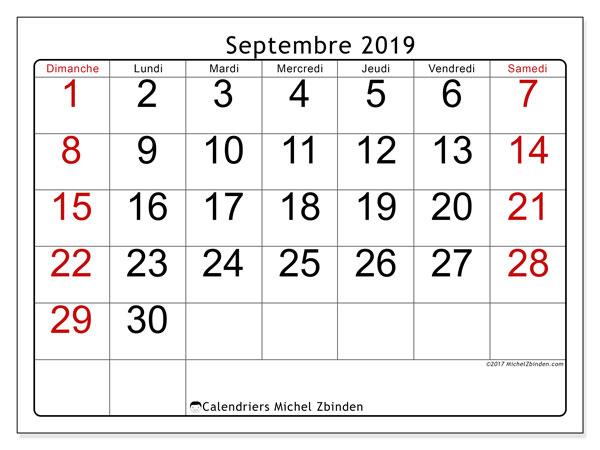 Calendrier septembre 2019, 62DS. Calendrier pour le mois à imprimer gratuit.