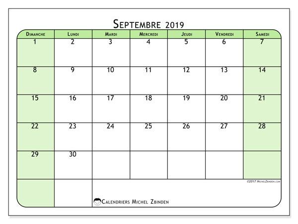 Calendrier septembre 2019, 65DS. Organisateur à imprimer gratuit.
