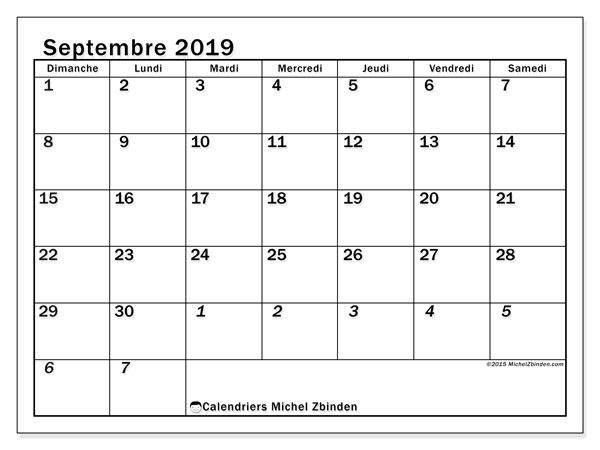 Calendrier septembre 2019, 66DS. Planificateur à imprimer gratuit.