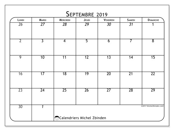 Calendriers septembre 2019 (LD).  67LD.