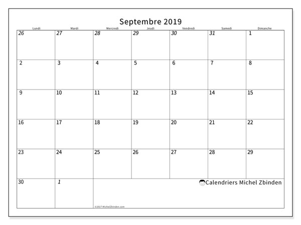 Calendriers septembre 2019 (LD).  70LD.
