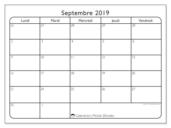 Calendrier septembre 2019, 74LD. Calendrier imprimable gratuit.