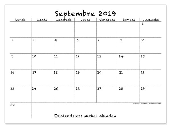 Calendrier septembre 2019, 77LD. Calendrier pour le mois à imprimer gratuit.