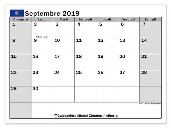 Calendrier septembre 2019, avec les jours fériés de l'Alberta. Calendrier mensuel à imprimer gratuit.