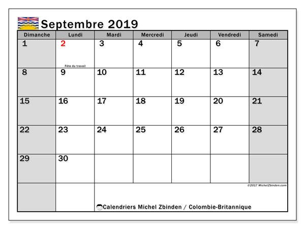 Calendrier septembre 2019, avec les jours fériés de la Colombie-Britannique. Calendrier à imprimer gratuit avec jours fériés.