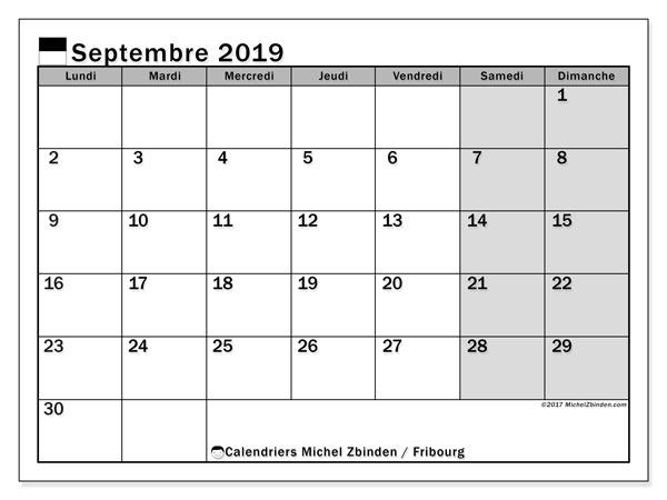 Calendrier septembre 2019, avec les jours fériés du Canton de Fribourg. Calendrier à imprimer gratuit avec jours fériés.