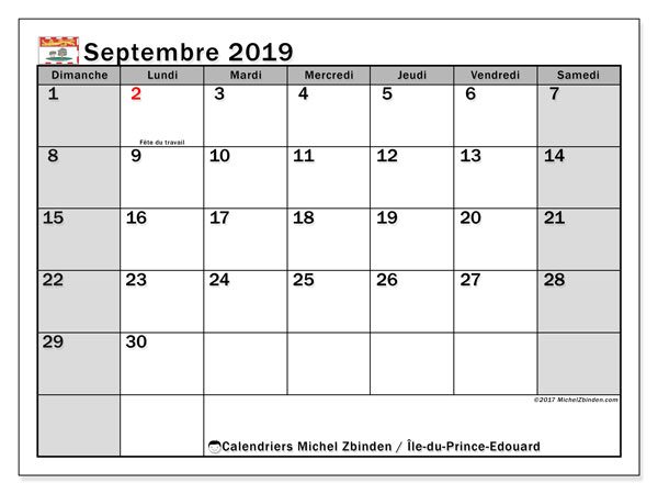 Calendrier septembre 2019, avec les jours fériés de l'Île-du-Prince-Edouard. Calendrier à imprimer gratuit avec jours fériés.