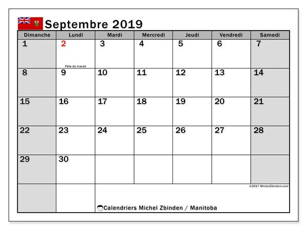 Calendrier septembre 2019, avec les jours fériés du Manitoba. Organisateur à imprimer gratuit.