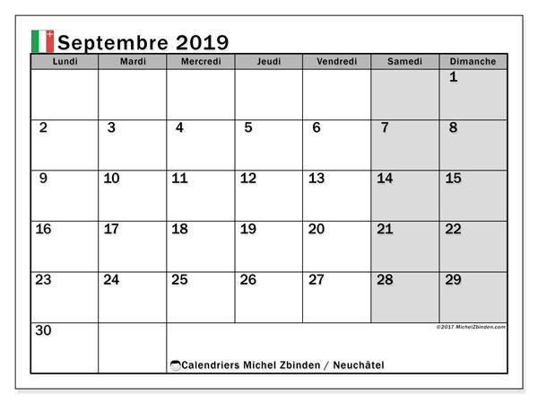 Calendrier septembre 2019, avec les jours fériés du Canton de Neuchâtel. Planificateur à imprimer gratuit.