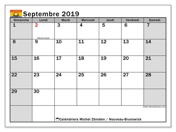 Calendrier septembre 2019, avec les jours fériés du Nouveau-Brunswick. Calendrier à imprimer gratuit avec jours fériés.