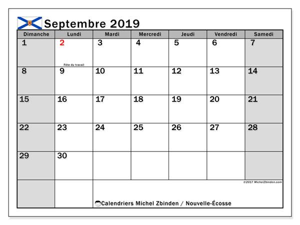 Calendrier septembre 2019, avec les jours fériés de la Nouvelle-Écosse. Calendrier mensuel à imprimer gratuit.