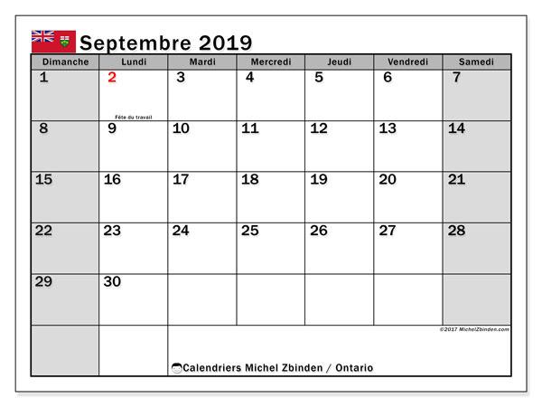 Calendrier septembre 2019, avec les jours fériés de l'Ontario. Organisateur à imprimer gratuit.
