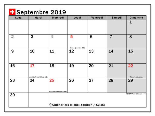Calendrier septembre 2019 - Suisse. Calendrier à imprimer : fêtes et jours fériés.