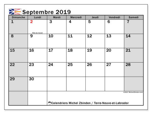 Calendrier septembre 2019, avec les jours fériés de Terre-Neuve-et-Labrador. Calendrier à imprimer gratuit avec jours fériés.