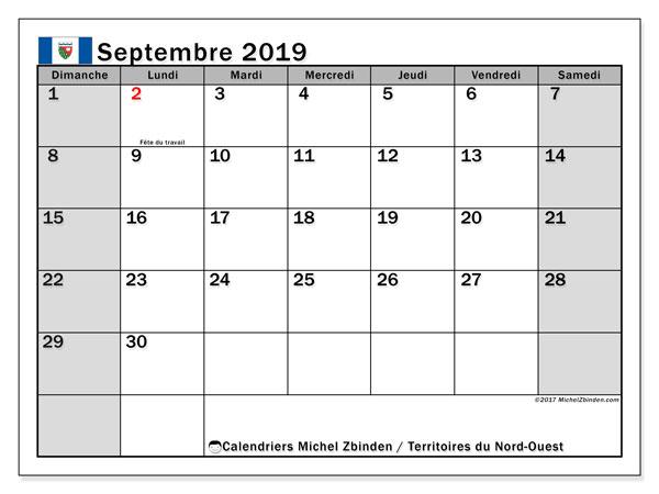 Calendrier septembre 2019, avec les jours fériés des Territoires du Nord-Ouest. Calendrier à imprimer gratuit.