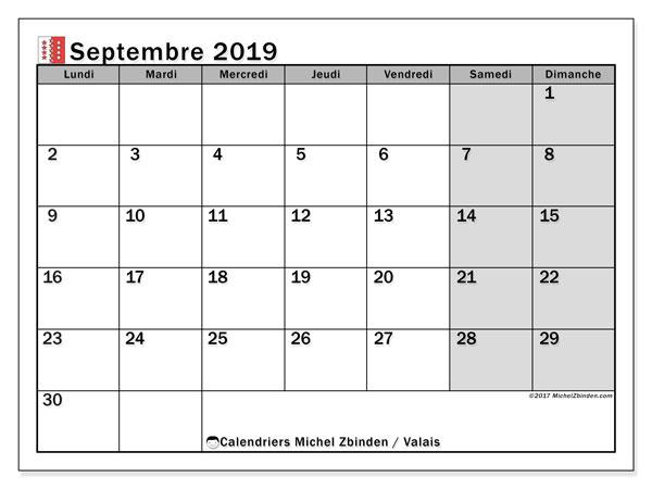 Calendrier septembre 2019, avec les jours fériés du Canton du Valais. Calendrier à imprimer gratuit avec jours fériés.