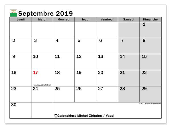 Calendrier septembre 2019, avec les jours fériés du Canton de Vaud. Calendrier à imprimer gratuit avec jours fériés.