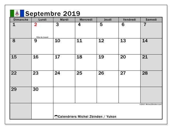 Calendrier septembre 2019, avec les jours fériés du Yukon. Calendrier à imprimer gratuit avec jours fériés.