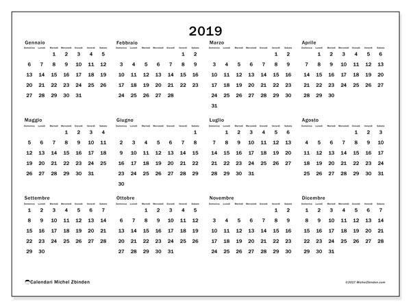 Calendario 2019, 32DS. Calendario stampabile gratuito.