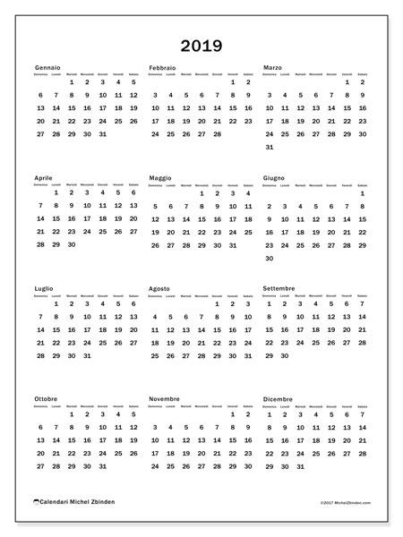 Calendario 2019, 33DS. Calendario per l'anno da stampare gratuitamente.