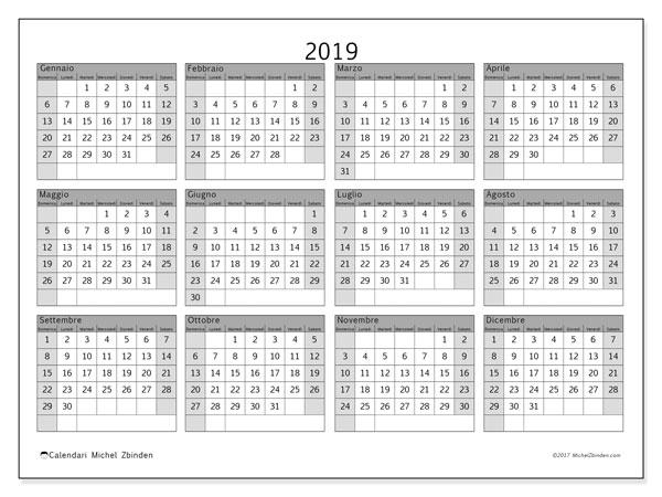 Calendario 2019, 35DS. Calendario stampabile gratuito.